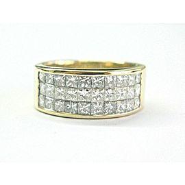 Princess Cut Diamond Invisible Set Yellow Gold Ring 18Kt 2.40Ct F-VVS