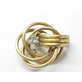 "Overlapping Circular Diamond Bezel Solid Yellow Gold Pin / Brooch .45Ct 1x1.5"""