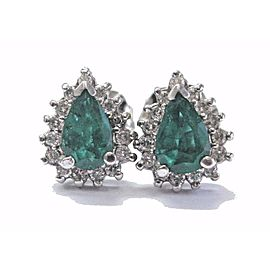 NATURAL Colombian Green Emerald & Diamond White Gold Stud Earrings 14Kt 2.50Ct