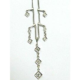 "Vintage Old European Diamond Drop Necklace 14Kt White Gold 16"" .88Ct"