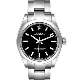 Rolex Midsize 31mm Black Dial Automatic Steel Ladies Watch 277200 Unworn