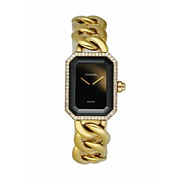 Chanel Paris 18K Yellow Gold & Diamond Bezel Onyx Dial Ladies Watch