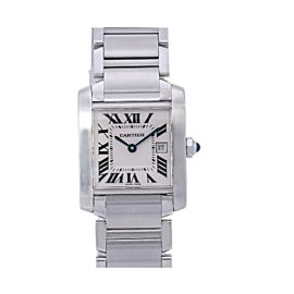 CARTIER TANK FRANÇAISE W51011Q3 25MM WHITE DIAL WITH STAINLESS STEEL BRACELET