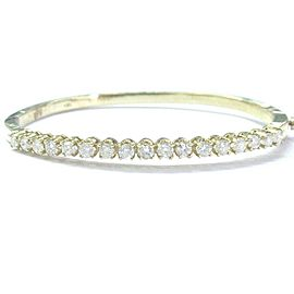 Fine Round Cut Diamond Yellow Gold 17-Stone Bangle 2.04Ct