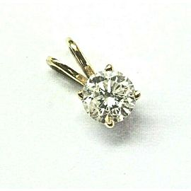 Natural Round Cut Diamond Yellow Gold Solitaire Pendant .43Ct
