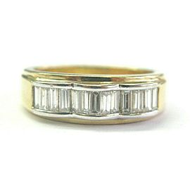Baguette Diamond Ring Solid 14Kt Yellow Gold Sizeable 2-Tone 1.00Ct G-VS2 6.3mm