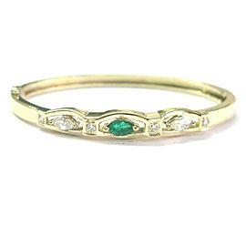 "Green Emerald & Diamond Bangle 14Kt Yellow Gold 1.00Ct 2.25"""
