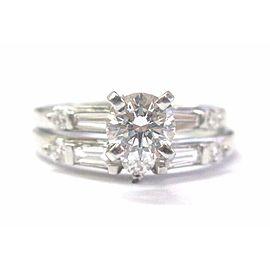 Fine Two Ring Diamond Engagement Multi Shape White Gold Ring 1.12Ct