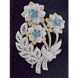 Diamond Bouquet of Flowers Pin / Brooch 2-Tone Modern Art Deco Brooch 10.39Ct