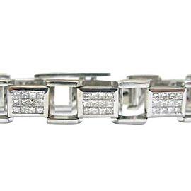 Mens Princess Cut Diamond Bracelet White Gold 14KT 8.40CT