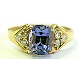 Cushion Tanzanite & Diamond Yellow Gold Ring AAA / VS 14KT 1.52Ct SIZEABLE