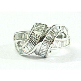 Baguette Diamond ByPass Ring 18Kt White Gold 2.24Ct F-VVS
