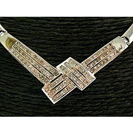 "Princess Cut Diamond Necklace 18Kt White Gold 3.00Ct 17"" G-VS2"