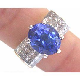 Natural Oval Tanzanite Princess Cut Diamond Yellow Gold Ring 18KT AAAA/VS 6.70Ct