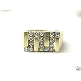 Fine Man's Zig Zag NATURAL Diamond Yellow Gold Jewelry Ring 14KT
