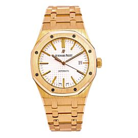 AUDEMARS PIGUET ROYAL OAK WATCH 41MM YELLOW GOLD WHITE DIAL 15400OR.OO.1220OR.02