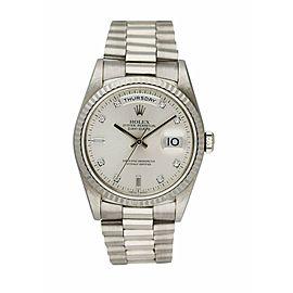 Rolex Day-Date President 18239 18K White Gold Diamond Dial Mens Watch
