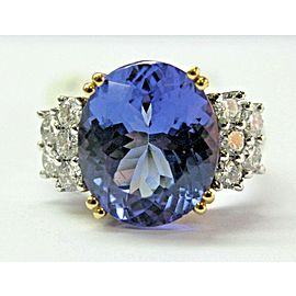 Oval Tanzanite & Diamond Ring Two-Tone Solid Gold 18Kt AAAA/VS 8.42Ct Sizeable