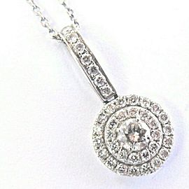 "Round Double Halo Circular Diamond White Gold Pendant Necklace 16"" .50Ct G-VS1"