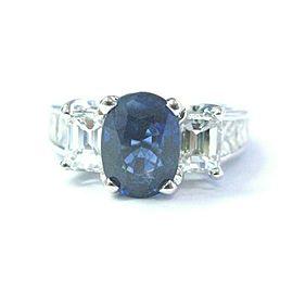 Oval Ceylon Sapphire & Diamond Ring Solid 14Kt White Gold 4.58Ct F-VVS SIZEABLE