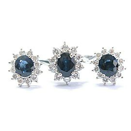Natural Ceylon Sapphire Diamond White Gold Ring & Earrings 3.40Ct 18Kt G-VS