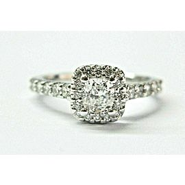 Robins Brothers Cushion Diamond Halo Engagement Ring 14Kt White Gold .92Ct E/VS2