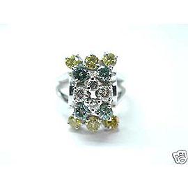 Fine Green Yellow & White Diamond Cocktail White Gold Jewelry Ring 1.69Ct