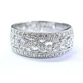 Natural Round Cut Diamond Milgrain WIDE Band Ring 14KT White Gold .65Ct