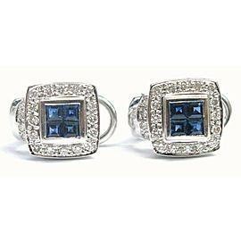 Ceylon Sapphire Square Diamond White Gold Huggie Earrings 14Kt 1.45Ct 14.5mm