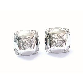 BVLGARI 18Kt Piramide NATURAL Diamond White Gold Earrings 1.50Ct F-G