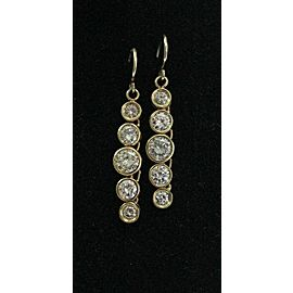 "NATURAL Round Diamond Bezel Set Yellow Gold Dangling Earrings 3.42Ct 1.25"" 14KT"