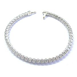 "Bezel Set Round Diamond Tennis Bracelet Solid 18Kt White Gold 53-Stones G/VS1 7"""