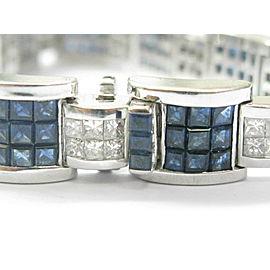 """Men's Blue Sapphire & Diamond Bracelet 18kt White Gold 7.5"""" 26.00Ct"""