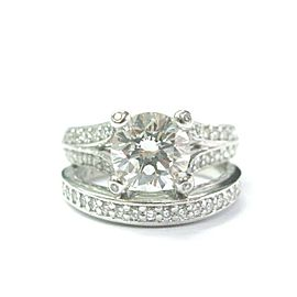 A Jaffe Platinum NATURAL Round Cut Diamond Engagement Set 2.82CT GIA
