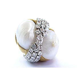 David Webb 18Kt Natural Pearl & Diamond Yellow Gold Ring 2.25Ct
