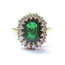18Kt Tsavorite & Diamond Yellow Gold Solitaire W Accent Jewelry Ring 5.24Ct