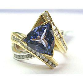 18Kt Natural Trillion Tanzanite & Diamond 2-Tone ByPass Ring 4.50Ct