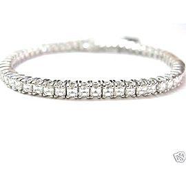 8.27CT NATURAL Asscher Cut Diamond Tennis Bracelet SOLID White Gold 18KT