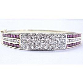 NATURAL Gem Ruby & Diamond 14Kt SOLID Yellow Gold Bangle / Bracelet 6.00Ct