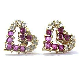 Heart Shape Ruby & Diamond Yellow Gold Stud Earrings 14Kt .80Ct 10mm x 10mm