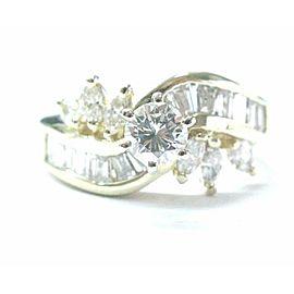 Fine Round Brilliant Marquise & Baguette Diamond Engagement YG Ring 1.40Ct