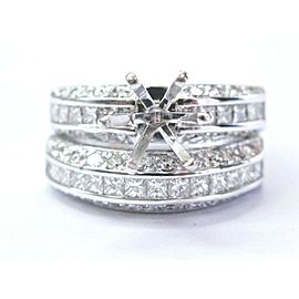 18Kt B.Mor White Gold Diamond Wedding Set Semi Mount Rings 1.76CtMounting