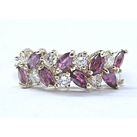 Fine Gem Ruby & Diamond Yellow Gold Cluster Band Ring .96Ct 14KT