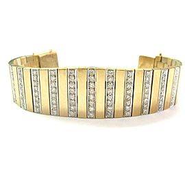 "WIDE Diamond Bracelet 14Kt Yellow Gold 134-Stones 5.00Ct 6.5"""