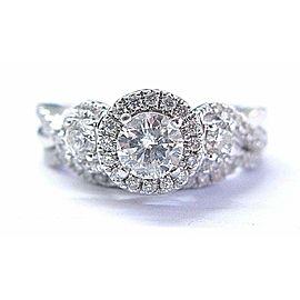 Magic Glo Round Cut Diamond 3-Stone Pave White Gold Engagement Rings 1.00Ct