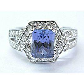 Natural Radiant Cut Tanzanite & Diamond Split Shank Jewelry Ring 14K 3.02Ct AAAA