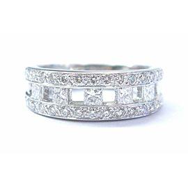 Platinum Princess & Round Cut Diamond White Gold Band Jewelry Ring 1.10Ct