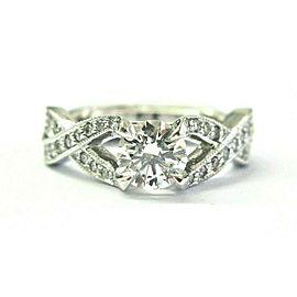 Natural Round Diamond White Gold Split Shank Engagement Ring GIA E-SI1 XXX