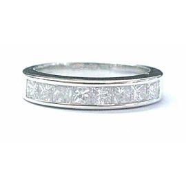 18Kt Princess Cut NATURAL Diamond White Gold 8-Stone Invisible Setting Ring .80C
