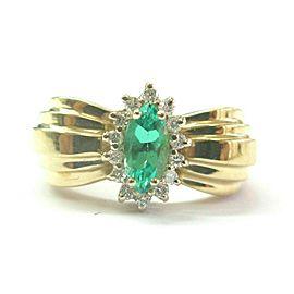 Green Emerald & Diamond Ring 14Kt Yellow Gold .55Ct + .28Ct SIZEABLE